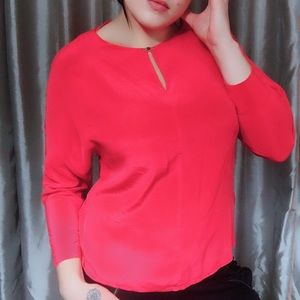 100% Silk Ted Baker Coral Blouse - Size 3 (US 8)